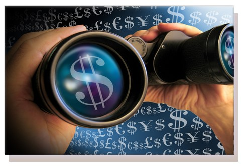 Decorative image of binoculars with dollar signs on the lens