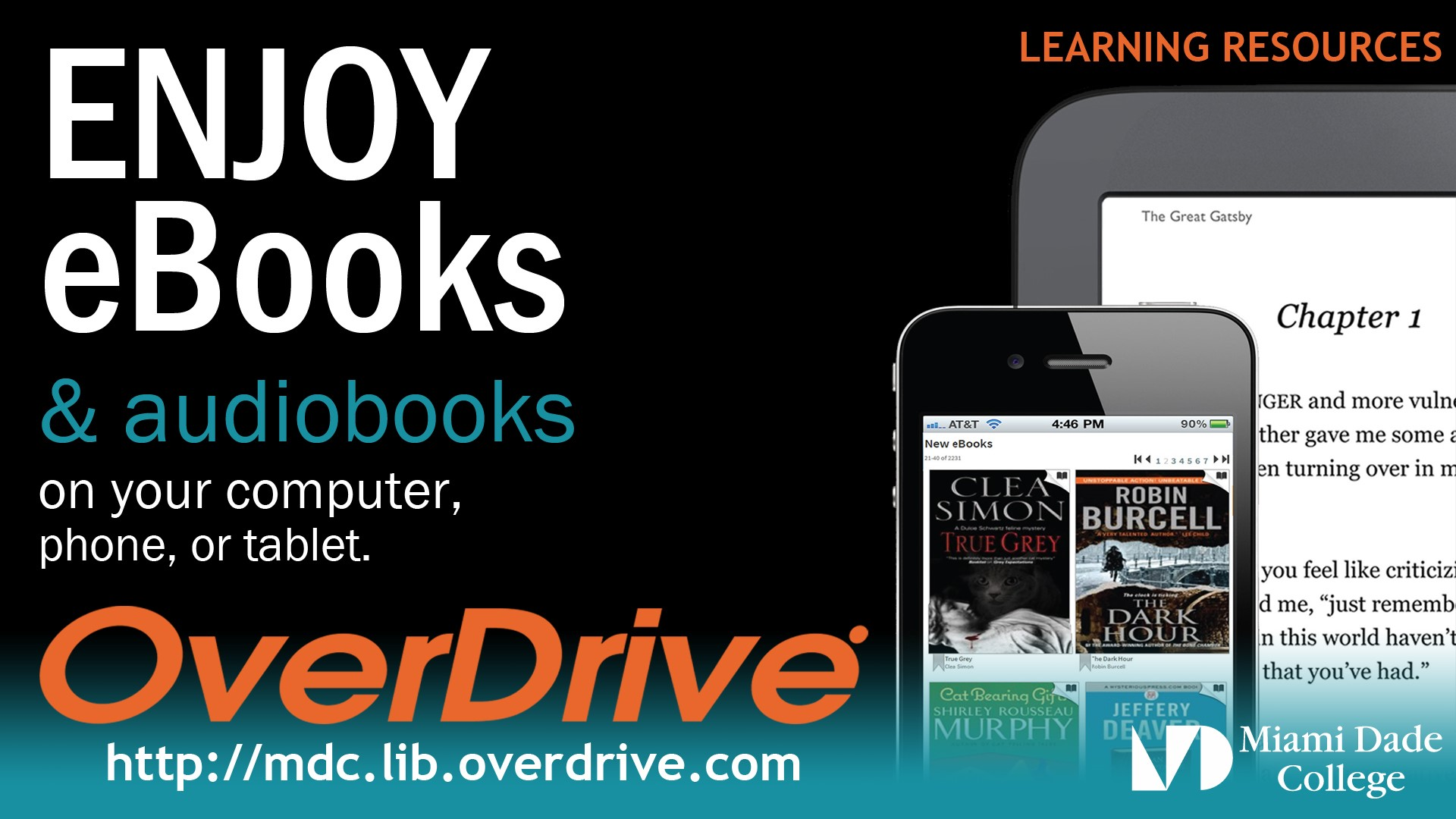 Enjoy eBooks and Audiobooks with Overdrive http://mdc.lib.overdrive.com