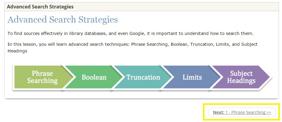 screenshot of CalPoly library search strategies site