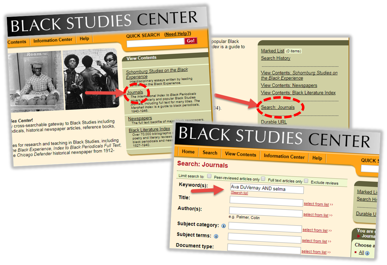 Black Studies Center - Journals - Search Journals - Search template
