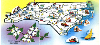 A postcard map of North Carolina