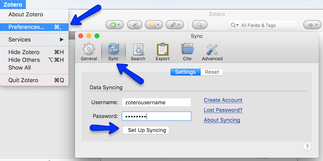 A screenshot of the Zotero preferences screen