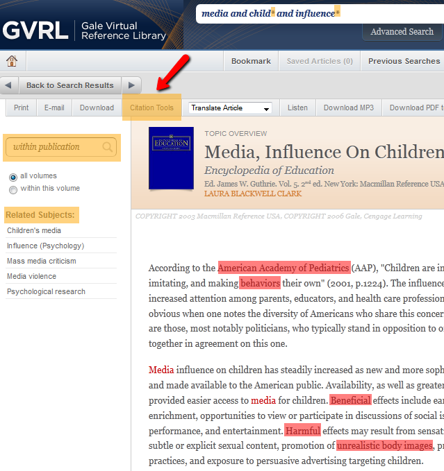 GVRL media influence on kids