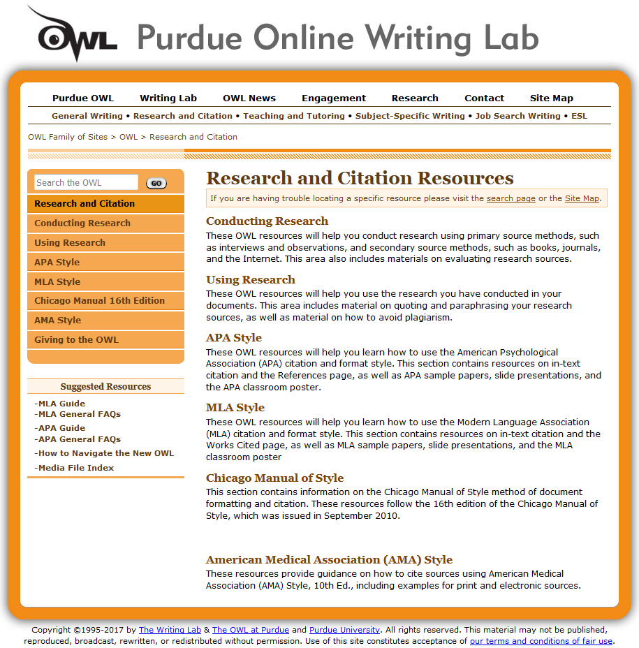 OWL online writing lab homepage