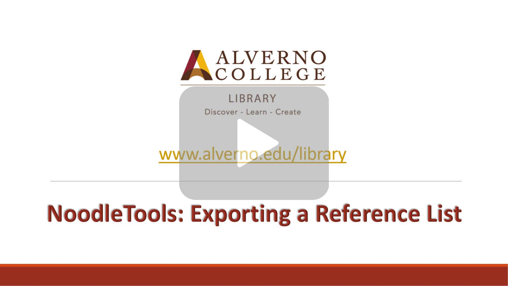 NoodleTools exporting a reference list