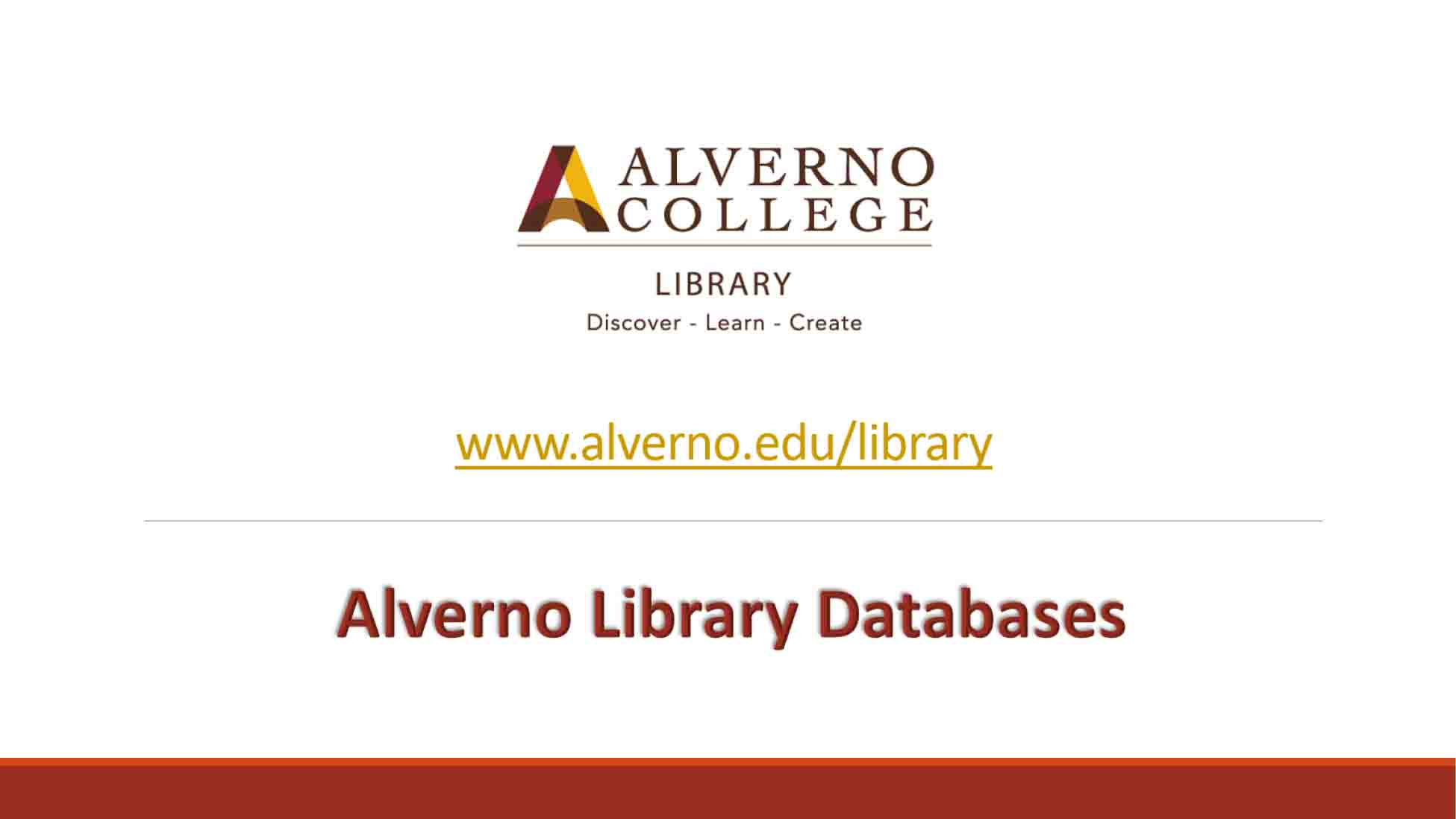 Alverno library databases video