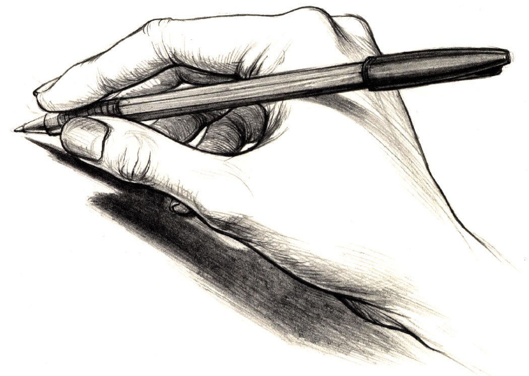 Greyscale hand holding pencil