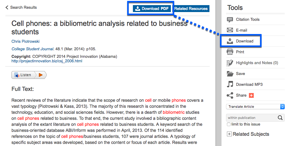 "Article record in Academic OneFile showing links for ""download pdf"" and ""download."""