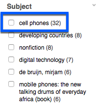 "Communication Abstracts subject terms provided on the search results page of a search for ""mobile phones"" AND africa"