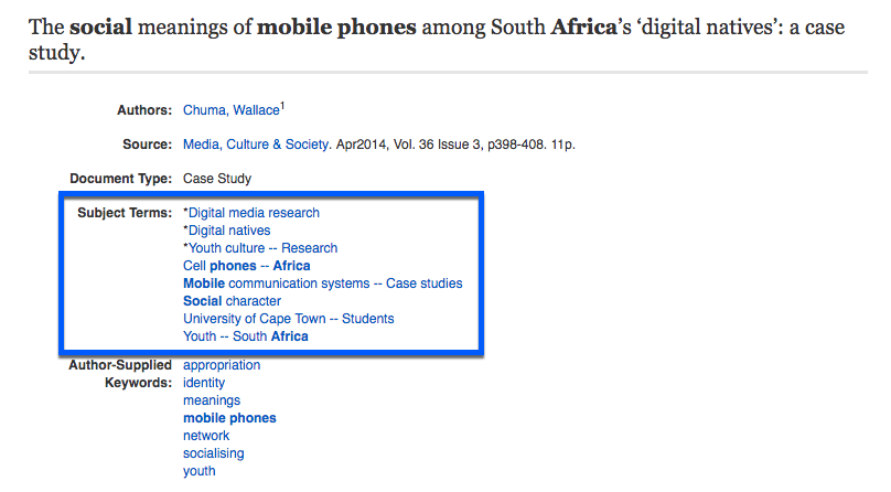 "Screenshot of article record in Communication Abstracts: ""The social meanings of mobile phones among South Africa's ""digital natives"": a case study, highlighting subject terms."