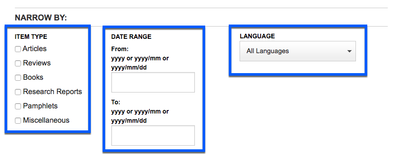 Screenshot of JSTOR search limiters, highlighting item type, date range, and language