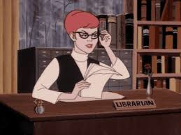 cartoon depiction of  librarian at a desk