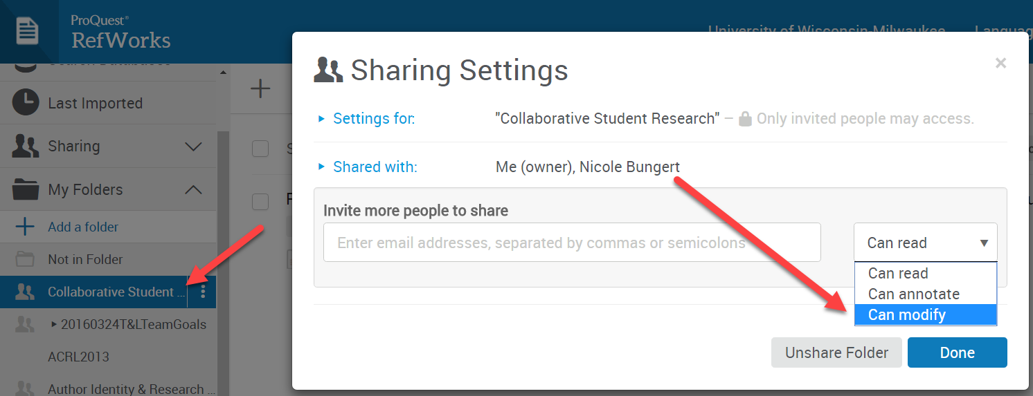 Invite other users to share a research folder in RefWorks. Assign full permissions to allow collaborative annotation.