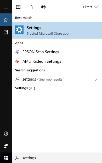 "Screenshot demonstrating how to search for ""Settings"" in Windows."