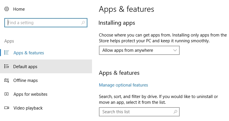 "Screenshot demonstrating how to select ""Default Apps"" in Windows."