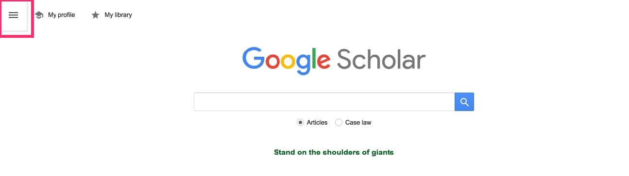 Google Scholar Settings bar