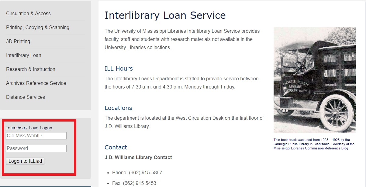 Interlibrary loan login box