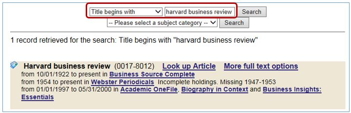 Search for title begins with and then type in the title of the journal