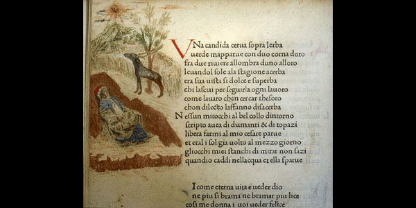 Hand-illustrated page from an early printed edition of Petrarch's Canzoniere before 1550. [Public Domain], via Wikimedia Commons