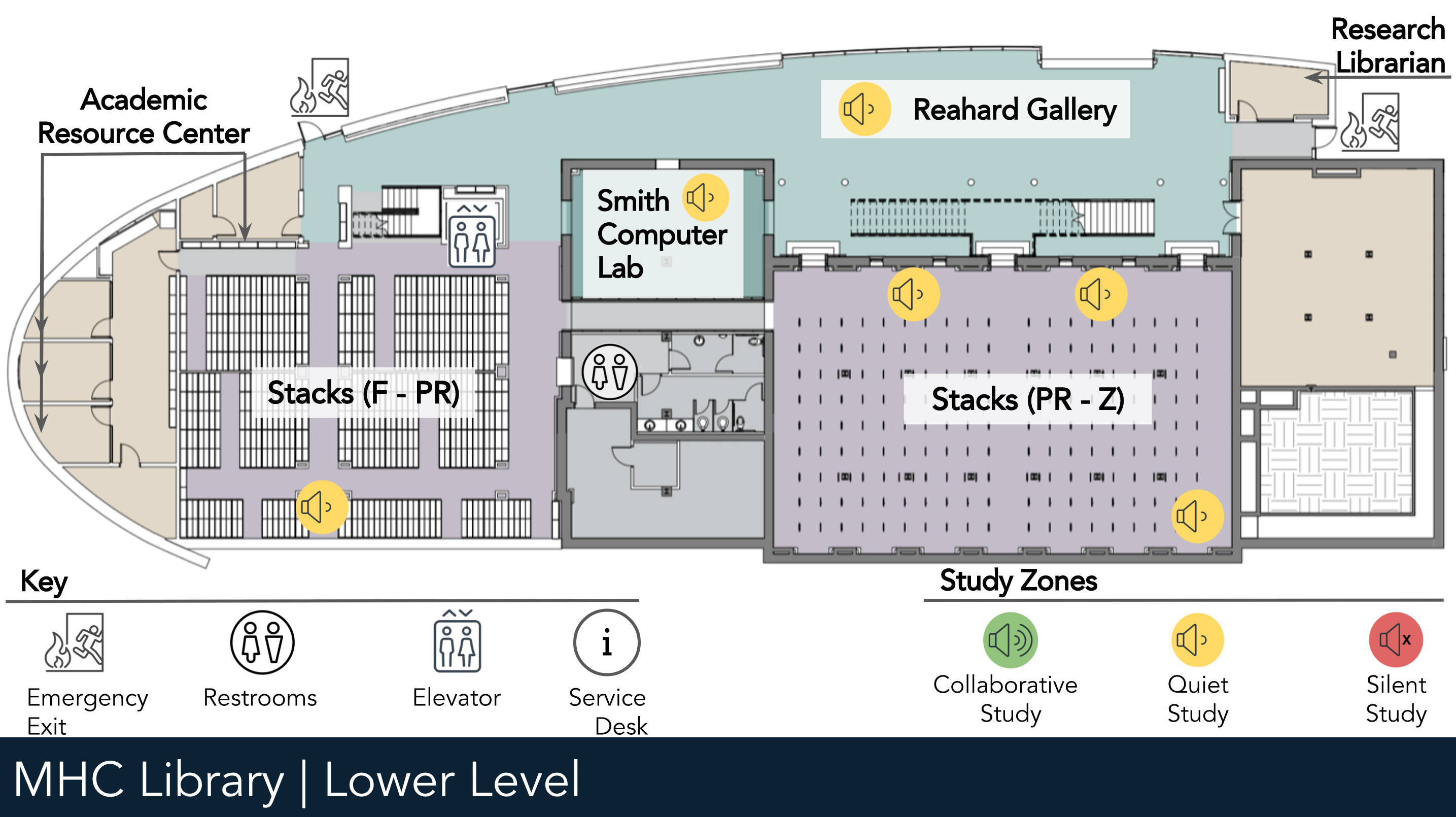 Library Lower Level floor map