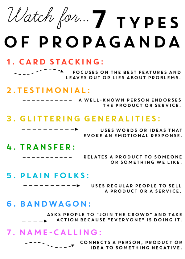 7 types of propaganda infographic