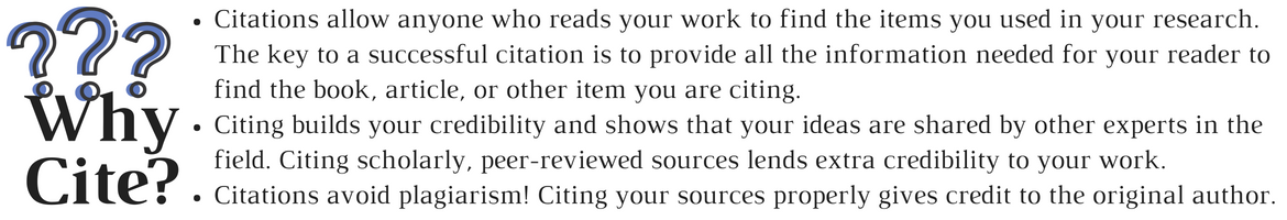 Citations allow anyone who reads your work to find the items you used in your research. The key to a successful citation is to provide all the information needed for your reader to find the book, article, or other item you are citing. Citing builds your credibility and shows that your ideas are shared by other experts in the field. Citing scholarly, peer-reviewed sources lends extra credibility to your work. Citations avoid plagiarism! Citing your sources properly gives credit to the original author.