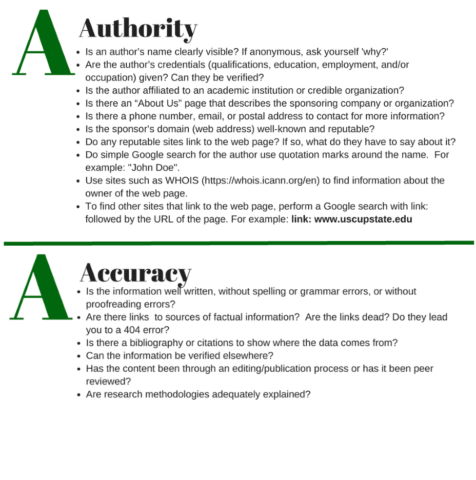 ABCs of Sources A-Authority and A-Acuracy