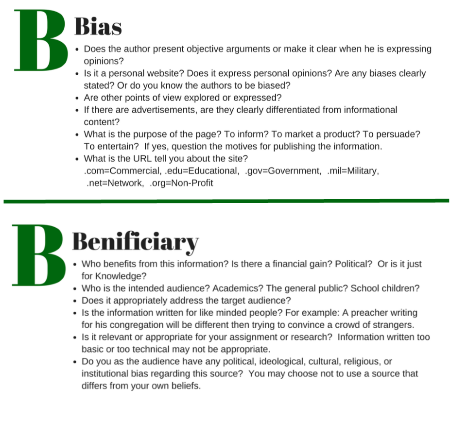 ABCs of sources B-Bias and B-Bennificary