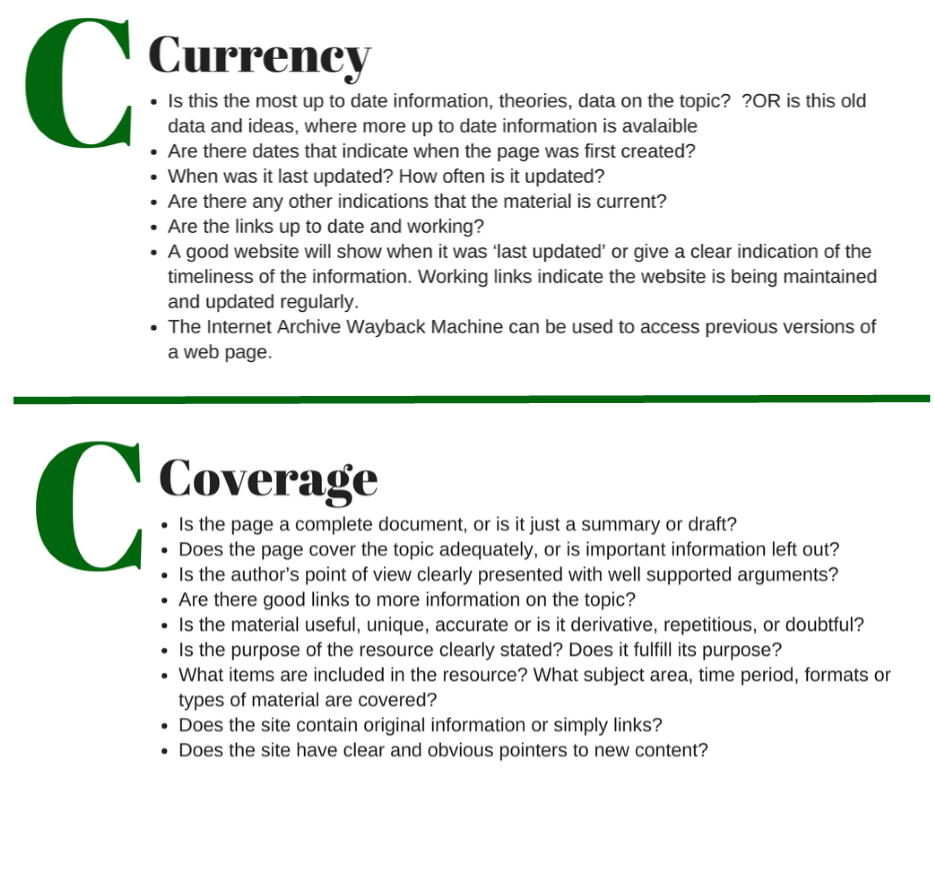 ABCs of Sources C-Currency and C- coverage