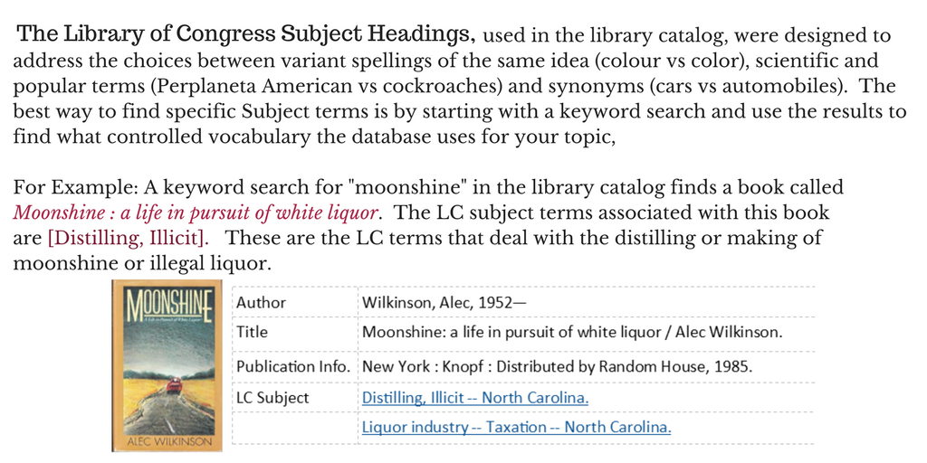 used in the library catalog, were designed to address the choices between variant spellings of the same idea (colour vs color), scientific and popular terms (Perplaneta American vs cockroaches) and synonyms (cars vs automobiles).  The best way to find specific Subject terms is by starting with a keyword search and use the results to find what controlled vocabulary the database uses for your topic,