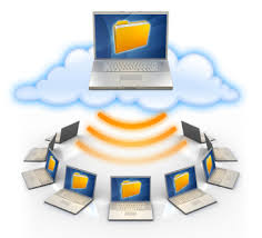image of an open laptop in a cloud