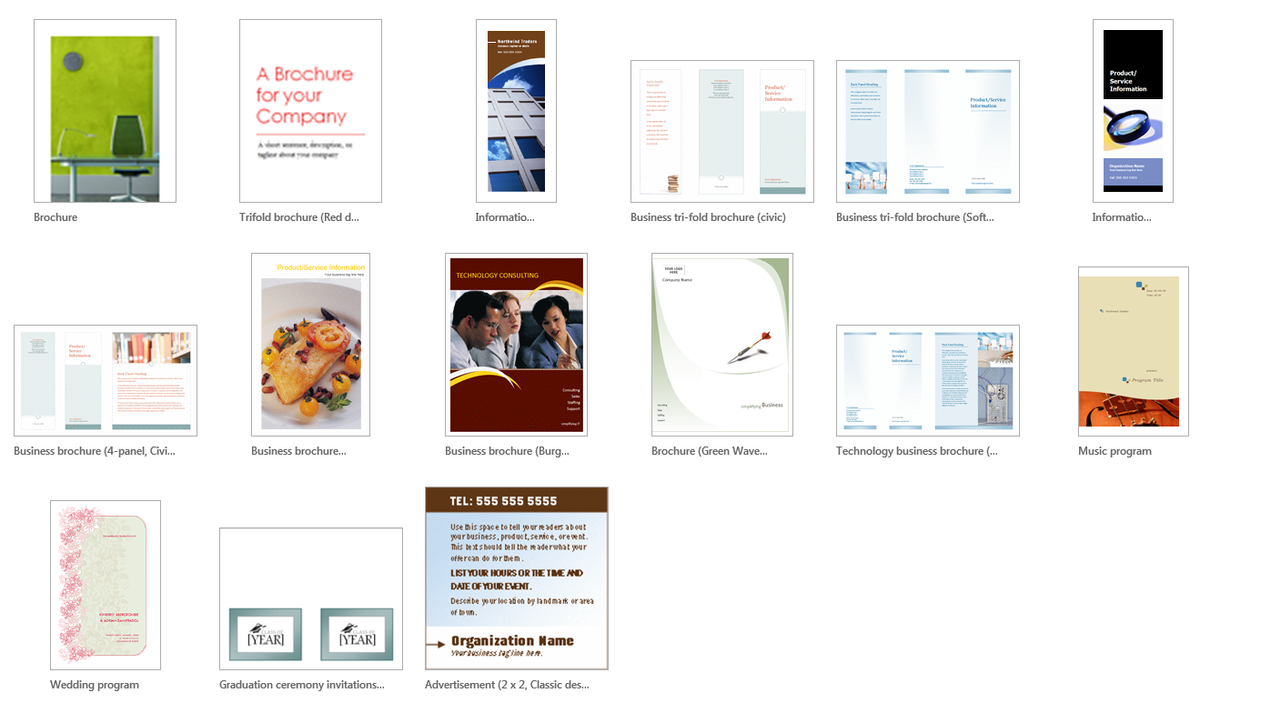 Examples of brochure options in Publisher