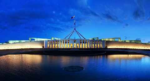 JJ Harrison, 'Parliament House Canberra Dusk Panorama', CC Licence: GNU Free Documentation License, version 1.2 (https://commons.wikimedia.org/wiki/Commons:GNU_Free_Documentation_License,_version_1.2), Image Source: (https://en.wikipedia.org/wiki/File:Parliament_House_Canberra_Dusk_Panorama.jpg)