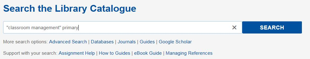 Classroom Management Catalogue Search Example [Source: UniSA Library]