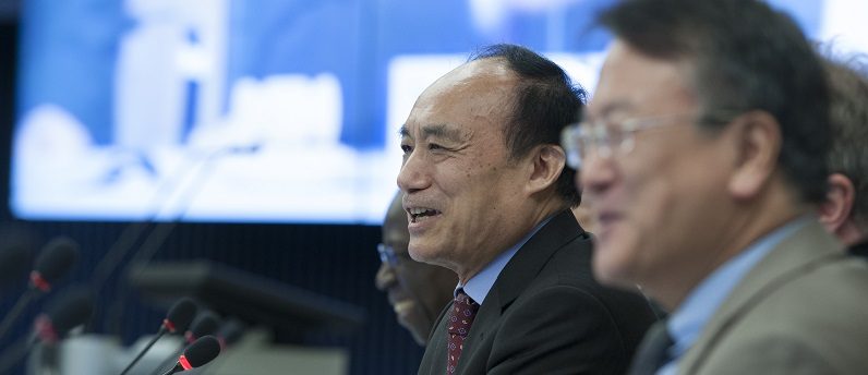 ITU Photo of Houlin Zhao at a 2015 ITU Staff Meeting