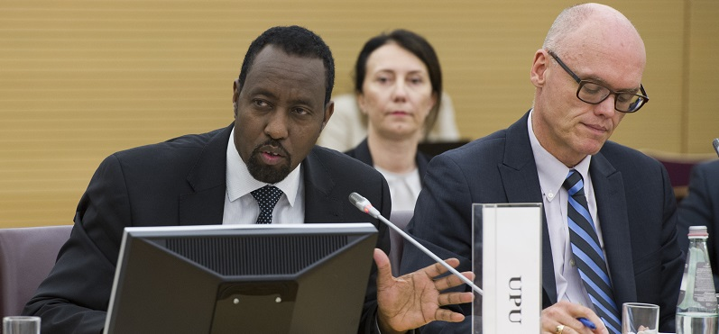 Bishar Hussein, Director General of UPU, at CEB meeting in 2014; UN Photo 587934