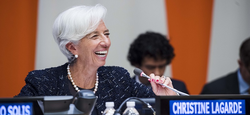 "Christine Lagarde, Managing Director of the International Monetary Fund (IMF), speaks during the high-level event on ""Women's Economic Empowerment: United Nations High-level Panel Report Presentation to the Secretary-General"", in 2016; UN Photo 695737"