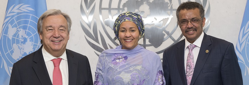 Secretary-General António Guterres (left) and Deputy Secretary-General Amina Mohammed (centre) meet with Tedros Adhanom Ghebreyesus, Director-General-elect of the World Health Organization (WHO), 2017; UN Photo 726470