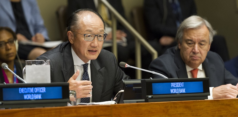 Jim Yong Kim (left), President of the World Bank, addresses the High-level event on famine response and prevention, 2017; UN Photo 735115