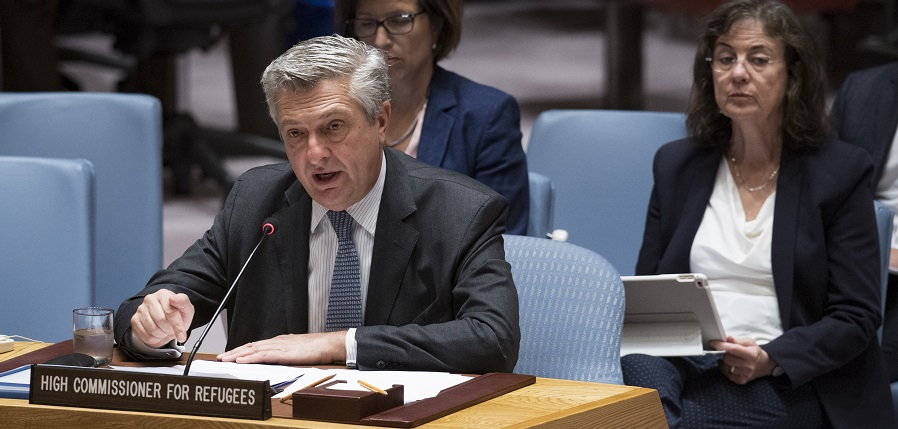 Filippo Grandi, United Nations High Commissioner for Refugees, briefs the Security Council in 2017; UN Photo741402