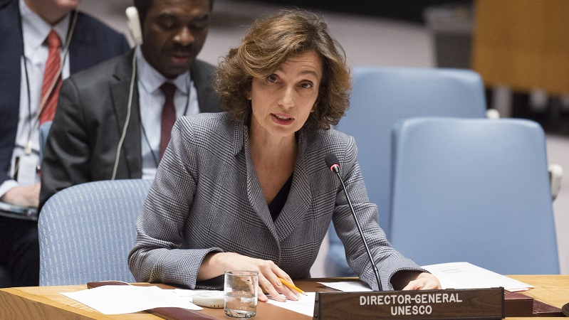 Audrey Azoulay, Director-General of the United Nations Educational, Scientific and Cultural Organization (UNESCO), briefs the Security Council; UN Photo 744304