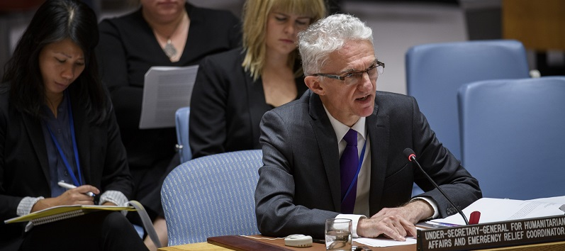 Mark Lowcock, Under-Secretary-General for Humanitarian Affairs and Emergency Relief Coordinator, briefs the Security Council; UN Photo 744982