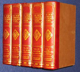 Photo of a set of red, leather-bound books.