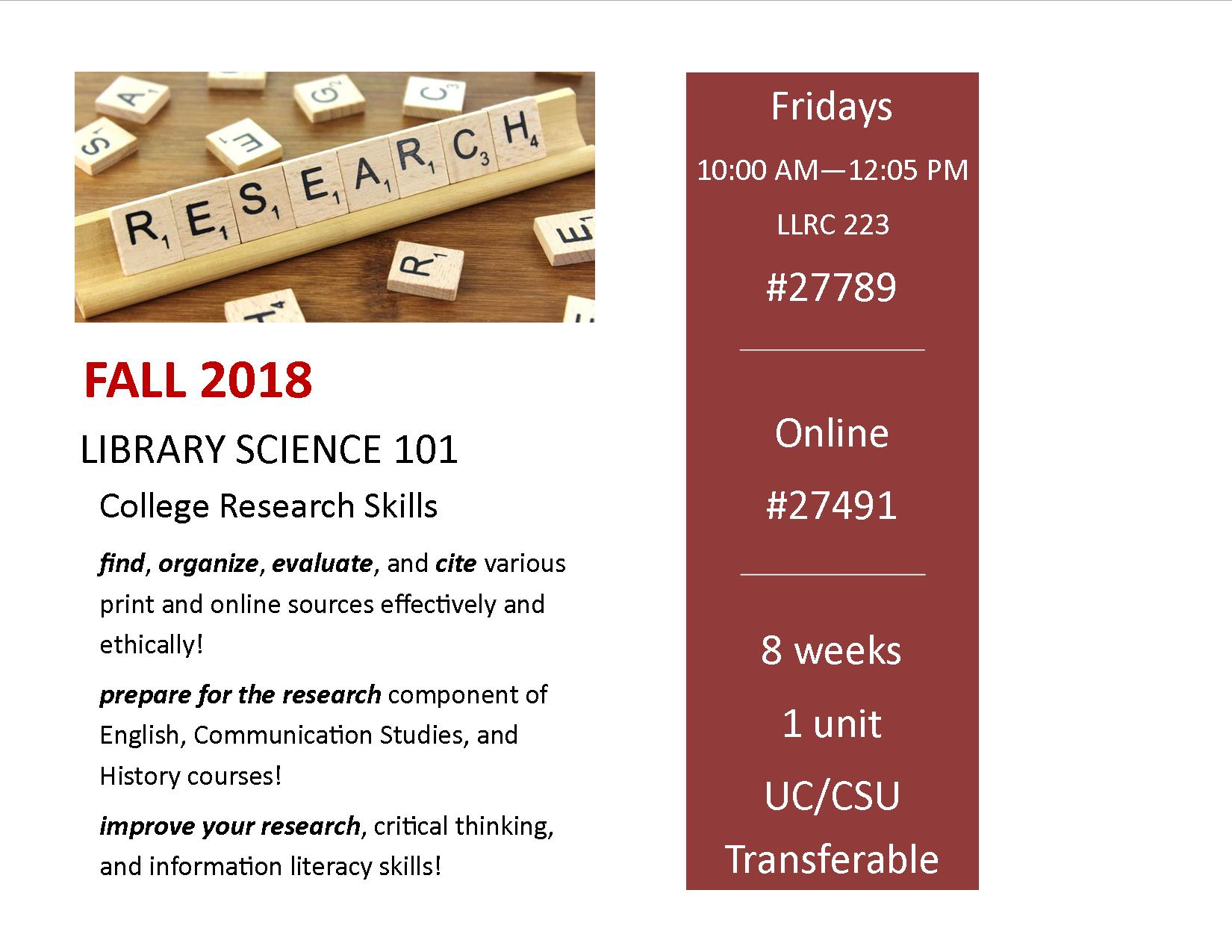 College Research Skills Fall 2018