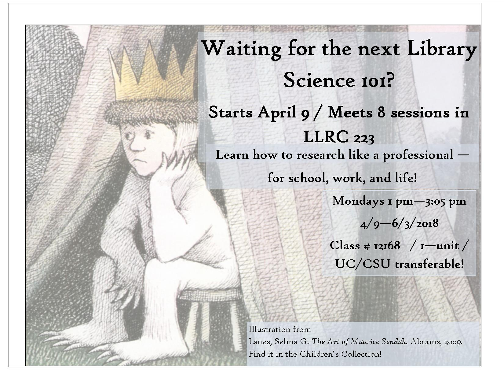 Library Science 101 spring 2018 flyer
