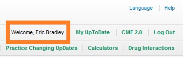 Highlighting account name on UpToDate page