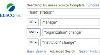 image of example search string in EBSCOhost