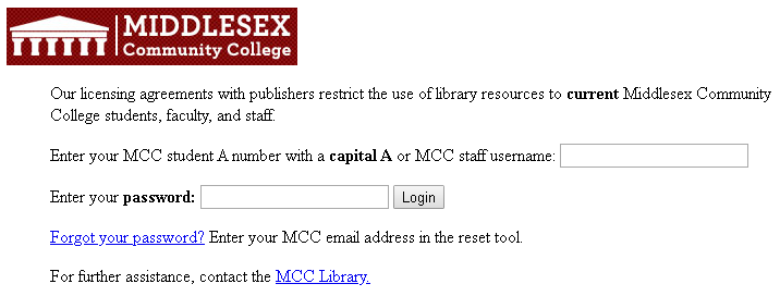 image of off campus access box. Asks useer to login using their A# and birthdate.