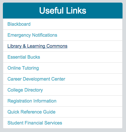 Image of myFSCJ student options under Useful Links on the right side of the screen