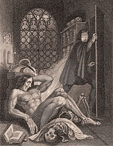 1831 illustration of Victor Frankenstein becoming disgusted at his creation.